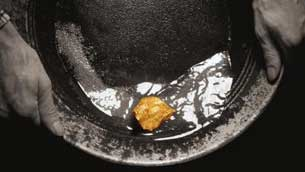 Golden nugget in pan